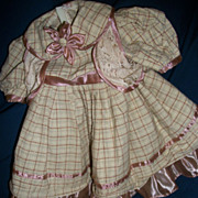 Lovely Dress Summer  Pastel Plaid Vest & Shoes for a large Doll Free Postage & Insurance for U