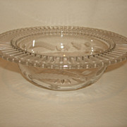 SALE Pairpoint Butterflies Cut Glass Bowl w/Reticulated Flat Rim