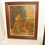 SALE Victorian Chromolithograph Print - Children, Boy w/Violin, Girl w/Doll, Cat - Large Walnu