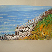 SALE George DeBoer Mixed Media PAINTING - Rhode Island Seascape