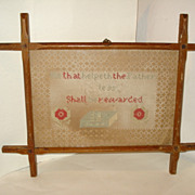 "Victorian Punch Paper MOTTO Sampler ""He That Helpeth The Father"""