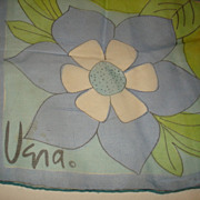 Vintage VERA Sheer Scarf, Blue / Green, 22x23