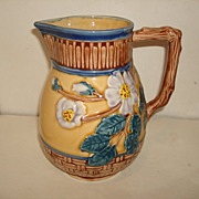 Vintage Large Majolica Basketweave Pitcher