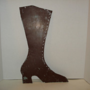 Antique Early Folk Art Tin BOOT Cobbler TRADE SIGN in Old Brown Paint