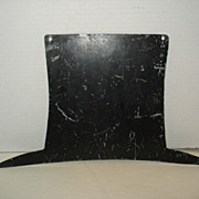 Antique Early Folk Art Tin TOP HAT Trade Sign in Old Black Paint