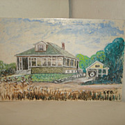 SALE George DeBoer Mixed Media PAINTING - Bungalow House & Antique Car Scene - Middleboro, MA