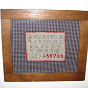 c1890 MINIATURE ABC SAMPLER in Wonderful Mortised & Pegged Picture Frame