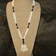 Mother of Pearl & Hematite Beaded TASSEL Drop Pendant Necklace
