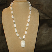 Vintage Egyptian Revival Carved Alabaster Scarab BEAD NECKLACE