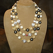 Vintage JAPAN Triple Strand Beaded Necklace - Grey, White, Crystal, Pale Yellow