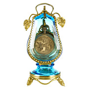 SOLD Antique Victorian Blue Glass & Ormolu Pocket Watch Holder Display Vitrine Box