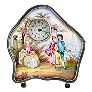 SOLD Antique Viennese Austrian Enamel &  Silver Miniature Clock