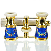 SOLD French Sapphire Blue Guilloche Enamel & Mother of Pearl Opera Glasses
