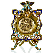SOLD Antique French Champleve Enamel & Gilt Brass Pocket Watch Stand Holder