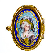 SOLD Antique French Limoges Enamel & Porcelain Patch Box with Miniature Portrait