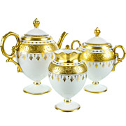 SOLD Antique Pickard Hand Painted Porcelain Tea Set with Raised Gold Gilding in Pristine Condi