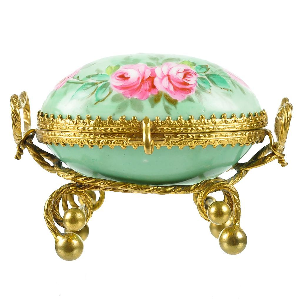 Antique French Palais Royal Porcelain & Gilt Ormolu Egg Casket