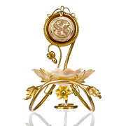 SOLD Antique French Grand Tour Eglomise Souvenir Pocket Watch Stand, Holder, Mother of Pearl