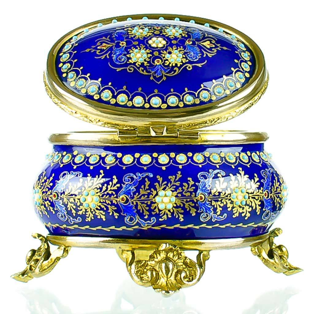 Antique French Enamel Jewelry Box with Jeweled Beading - Cobalt Blue