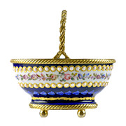 SOLD Antique French Enamel Miniature Basket with Jeweled Beading & Gilt Bronze Mounts