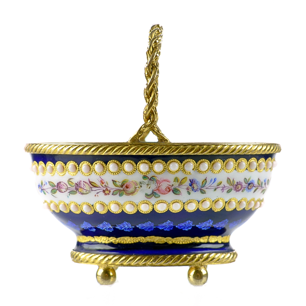 Antique French Enamel Miniature Basket with Jeweled Beading & Gilt Bronze Mounts