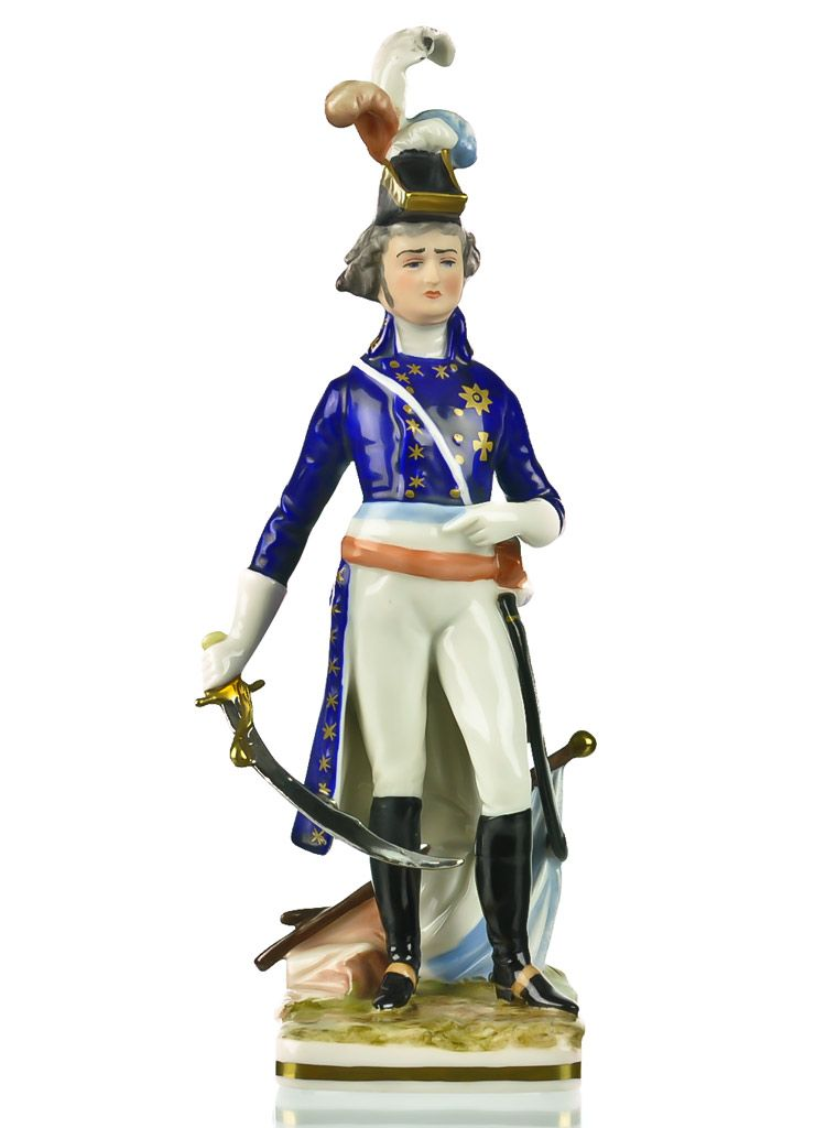 Frankenthal Wessel Porcelain Napoleonic General Military Figure - Hand Painted