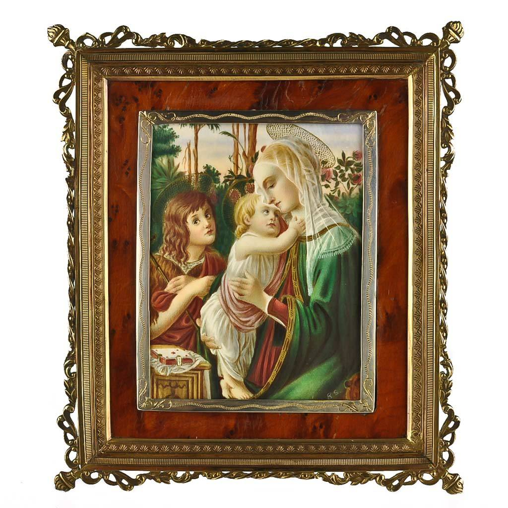 Antique Miniature Painting  Madonna and Child with Saint John the Baptist