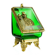 SOLD Antique Emerald Green Glass Pocket Watch Holder Stand Display Vitrine Box