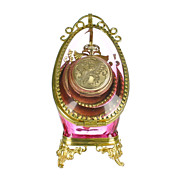 SOLD Antique Rose Pink Glass Pocket Watch Holder Stand Display Vitrine Box