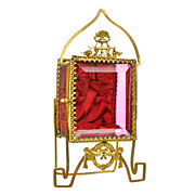 Antique French Cranberry Glass & Gilt Ormolu Pocket Watch Holder Vitrine Box Napoleon III