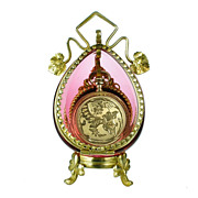 SOLD Antique Cranberry Glass Pocket Watch Holder Stand Casket Box