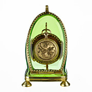 SOLD Antique Green Glass & Ormolu Pocket Watch Holder Stand Display Vitrine Box