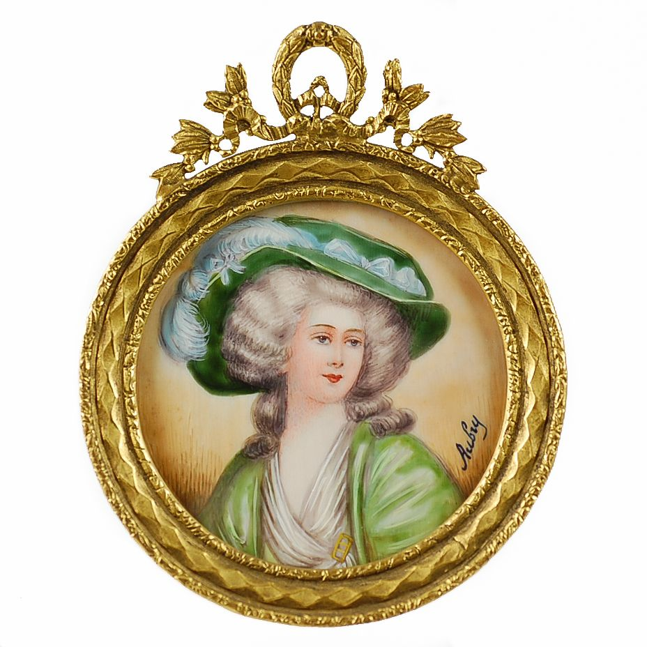 Antique French Hand Painted Portrait Miniature Dore Bronze Frame - Artist Signed