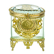 SALE PENDING Antique Glass & Gilt Bronze Pocket Watch Holder - Jewelry Display Vitrine Casket