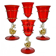 Salviati Ruby Red Venetian Glass Goblets with Dolphin Stems - Set of Four