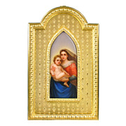Antique Miniature Painting Sistine Madonna on Porcelain Plaque in Gilt Bronze Frame, Raphael