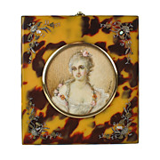 Antique French Portrait Miniature Hand Painted - Pique Inlaid Faux Tortoiseshell Frame - Madam