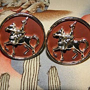 Vintage BIG Knight with Lance on Horse Cufflinks