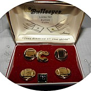 Vintage Boxed Set  Bulleyes Cufflink Button Covers