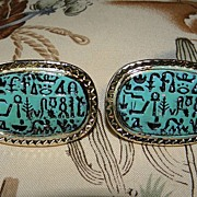 Vintage Egyptian Revival Huge Hieroglyphics Cufflinks