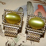 Vintage SWANK Olive Moonglow Mesh Wrap Around Cufflinks