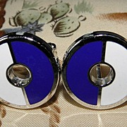Vintage Destino Blue & White Circle Cufflinks