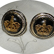 Vintage Glass Crown Cufflinks