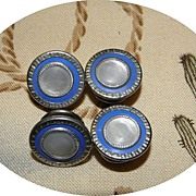 Vintage Mother of Pearl & Blue Enamel 1920s Snap Link Cufflinks