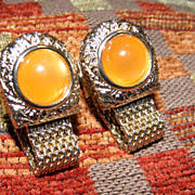 Vintage Amber Moon Glow Swank Cufflinks Mesh Wrap Around