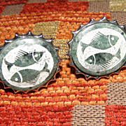Vintage Etched Green Stone Pisces Fish Cufflinks Unsigned