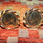 Vintage Genuine Coin Nickel Gold Tone Cufflinks