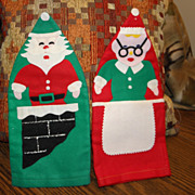 Vintage Felt Santa & Mrs. Claus Bottle Covers 1950s Japan Christmas