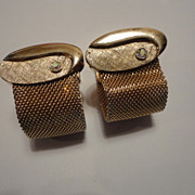 Vintage SWANK Rhinestone Mesh Wrap Around Snap Cufflinks