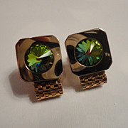 Colorful Rivoli Watermelon Rhinestone Square Cufflinks